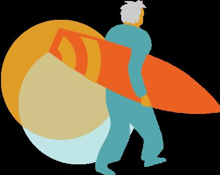 Ilustración surfero